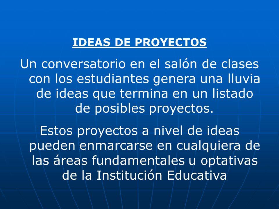 PERFILES DE PROYECTOS A partir del listado se formulan perfiles de proyectos en documentos pequeños de máximo dos páginas.