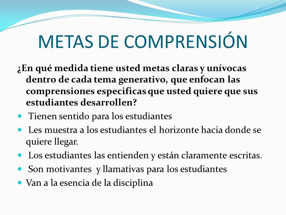 Tienen en cuenta las dimensiones de la comprensión (conocimientos, métodos,praxis, formas de comunicación).