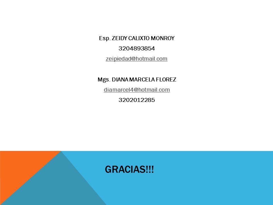 GRACIAS!!! Esp. ZEIDY CALIXTO MONROY 3204893854 zeipiedad@hotmail.com Mgs. DIANA MARCELA FLOREZ diamarcel4@hotmail.com 3202012285