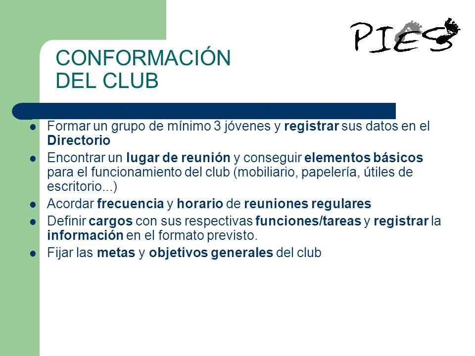 CONFORMACIÓN DEL CLUB Para crear un club se deben dar los siguientes pasos: Formar un grupo de mínimo 3 jóvenes y registrar sus datos en el Directorio