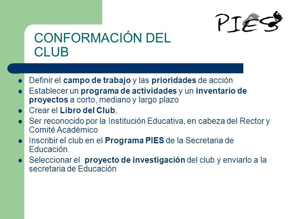 CONFORMACIÓN DEL CLUB Definir el campo de trabajo y las prioridades de acción Establecer un programa de actividades y un inventario de proyectos a cor