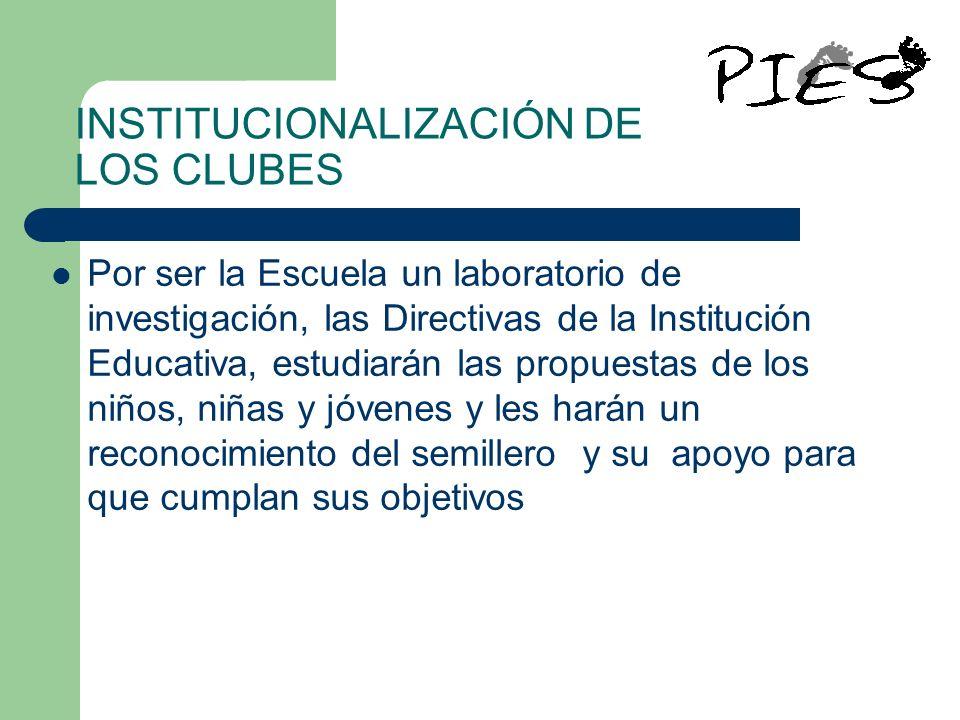 INSTITUCIONALIZACIÓN DE LOS CLUBES Por ser la Escuela un laboratorio de investigación, las Directivas de la Institución Educativa, estudiarán las prop