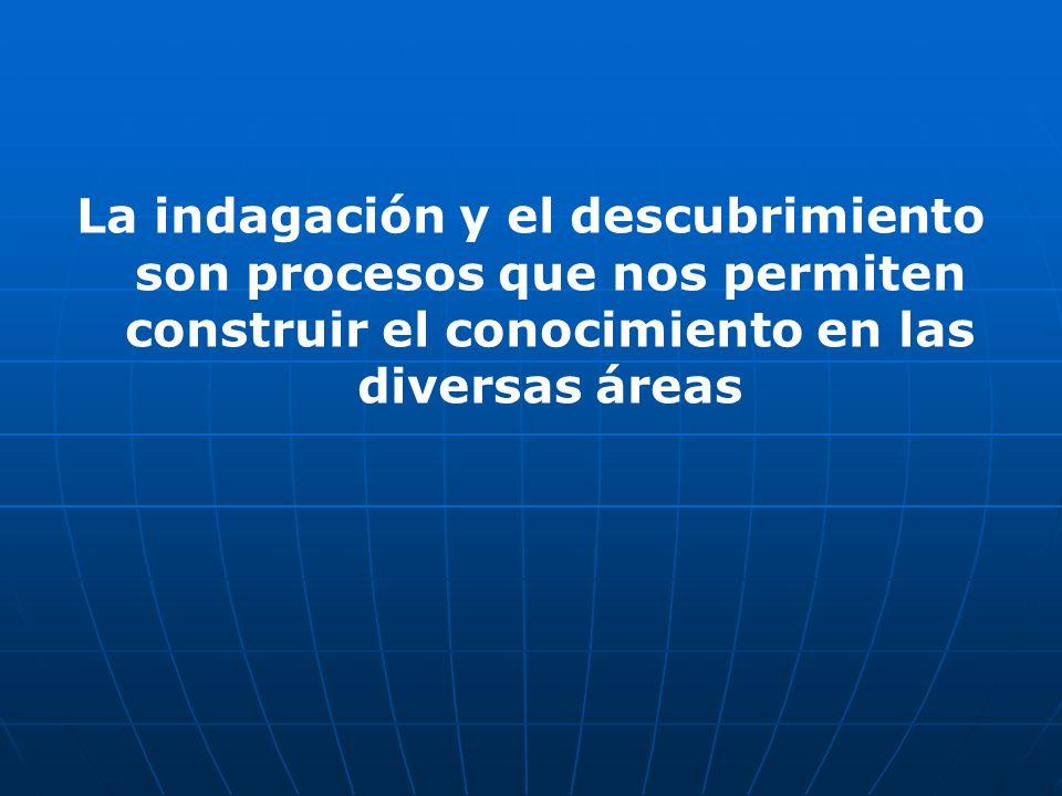 La indagación y el descubrimiento son procesos que nos permiten construir el conocimiento en las diversas áreas