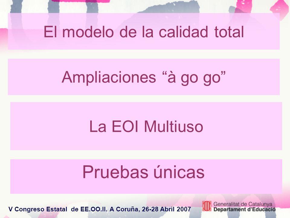V Congreso Estatal de EE.OO.II. A Coruña, 26-28 Abril 2007 La EOI Multiuso Pruebas únicas El modelo de la calidad total Ampliaciones à go go