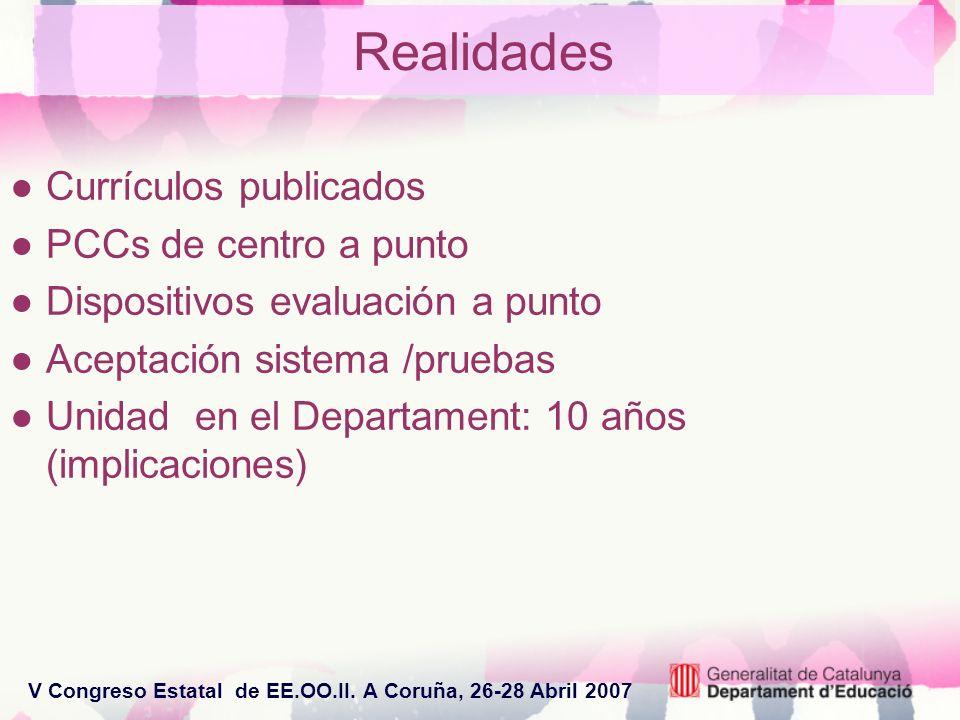 V Congreso Estatal de EE.OO.II. A Coruña, 26-28 Abril 2007 Realidades Currículos publicados PCCs de centro a punto Dispositivos evaluación a punto Ace
