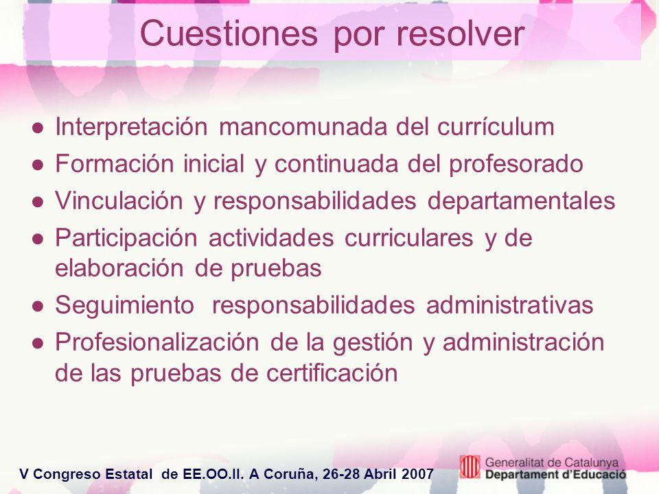 V Congreso Estatal de EE.OO.II. A Coruña, 26-28 Abril 2007 Cuestiones por resolver Interpretación mancomunada del currículum Formación inicial y conti