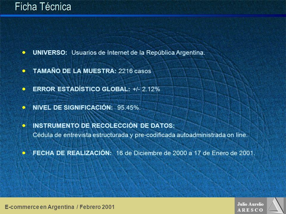 Julio Aurelio A R E S C O E-commerce en Argentina / Febrero 2001 Ficha Técnica UNIVERSO: Usuarios de Internet de la República Argentina.