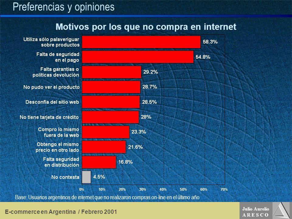 Julio Aurelio A R E S C O E-commerce en Argentina / Febrero 2001 Preferencias y opiniones Motivos por los que no compra en internet Base: Usuarios argentinos de internet que no realizaron compras on-line en el último año