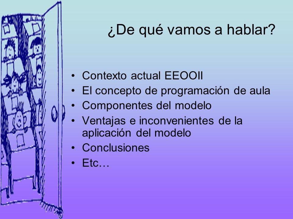 ¿De qué vamos a hablar? Contexto actual EEOOII El concepto de programación de aula Componentes del modelo Ventajas e inconvenientes de la aplicación d
