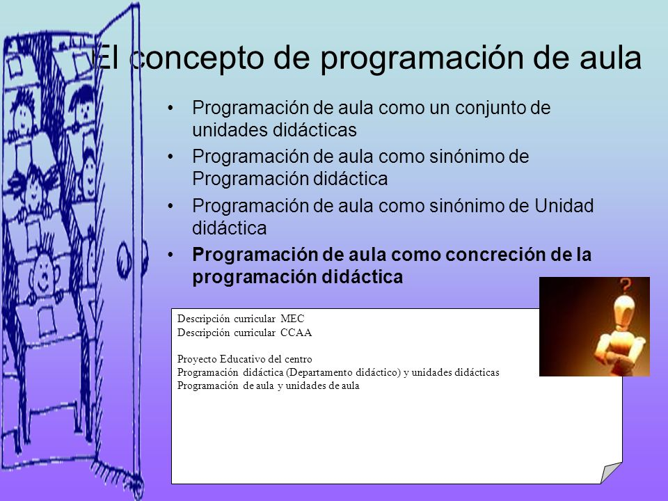 El concepto de programación de aula Programación de aula como un conjunto de unidades didácticas Programación de aula como sinónimo de Programación di