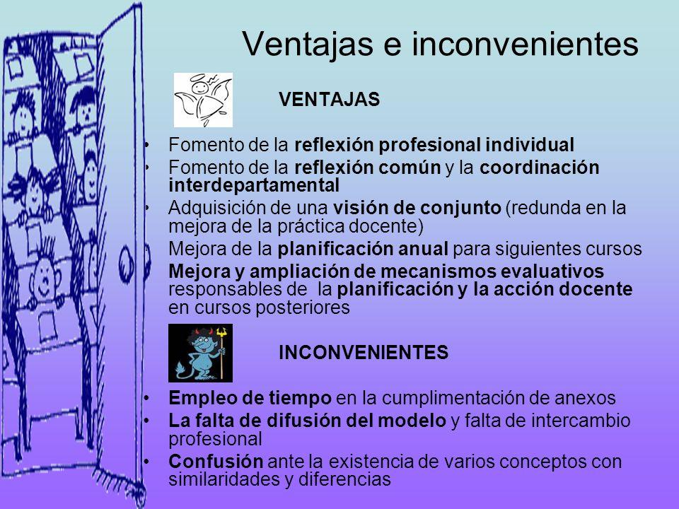 Ventajas e inconvenientes VENTAJAS Fomento de la reflexión profesional individual Fomento de la reflexión común y la coordinación interdepartamental A