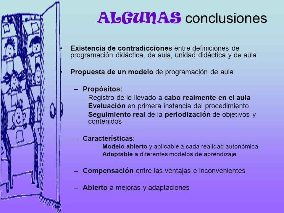 ALGUNAS conclusiones Existencia de contradicciones entre definiciones de programación didáctica, de aula, unidad didáctica y de aula Propuesta de un m
