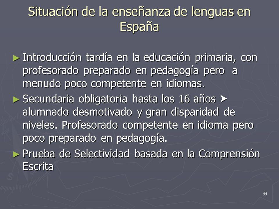 11 Situación de la enseñanza de lenguas en España Introducción tardía en la educación primaria, con profesorado preparado en pedagogía pero a menudo p