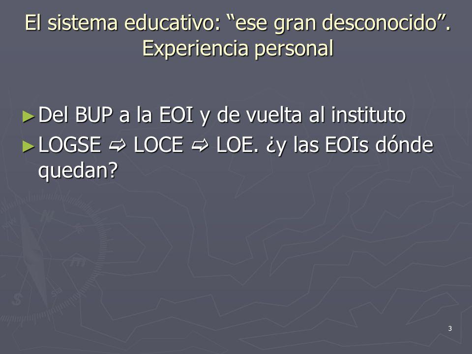 3 El sistema educativo: ese gran desconocido. Experiencia personal Del BUP a la EOI y de vuelta al instituto Del BUP a la EOI y de vuelta al instituto