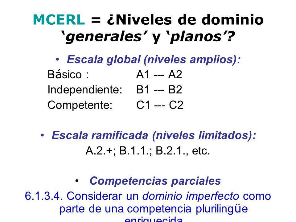 MCERL = ¿Niveles de dominiogenerales y planos? Escala global (niveles amplios): B á sico : A1 --- A2 Independiente: B1 --- B2 Competente: C1 --- C2 Es