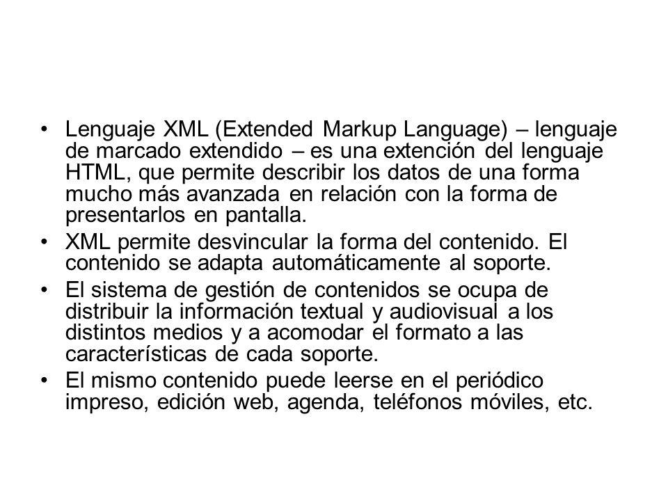 Lenguaje XML (Extended Markup Language) – lenguaje de marcado extendido – es una extención del lenguaje HTML, que permite describir los datos de una forma mucho más avanzada en relación con la forma de presentarlos en pantalla.