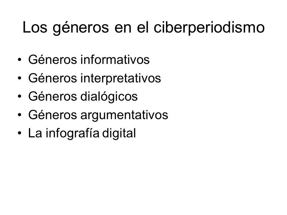 Los géneros en el ciberperiodismo Géneros informativos Géneros interpretativos Géneros dialógicos Géneros argumentativos La infografía digital
