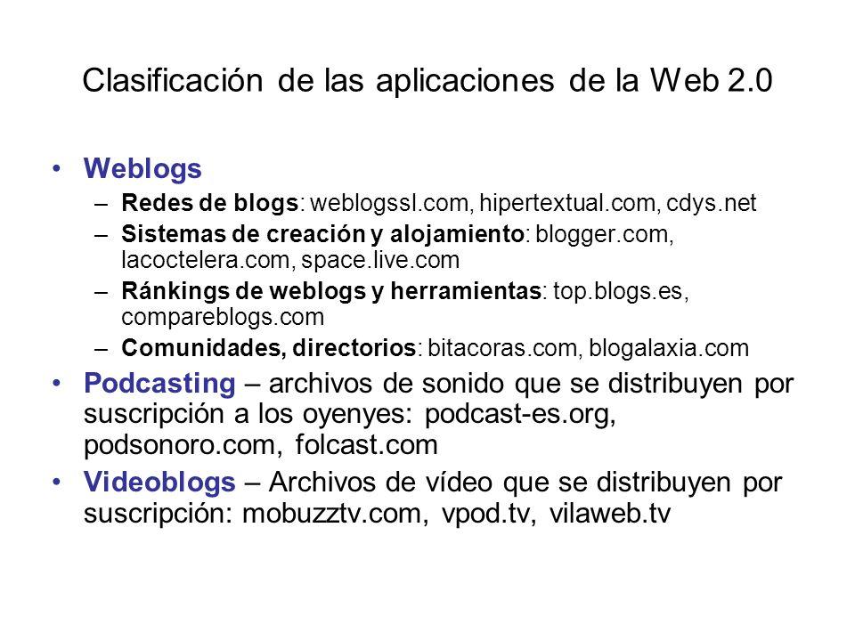 Clasificación de las aplicaciones de la Web 2.0 Weblogs –Redes de blogs: weblogssl.com, hipertextual.com, cdys.net –Sistemas de creación y alojamiento: blogger.com, lacoctelera.com, space.live.com –Ránkings de weblogs y herramientas: top.blogs.es, compareblogs.com –Comunidades, directorios: bitacoras.com, blogalaxia.com Podcasting – archivos de sonido que se distribuyen por suscripción a los oyenyes: podcast-es.org, podsonoro.com, folcast.com Videoblogs – Archivos de vídeo que se distribuyen por suscripción: mobuzztv.com, vpod.tv, vilaweb.tv