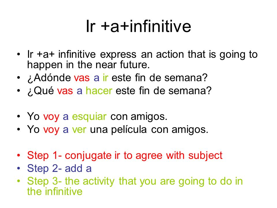 Ir +a+infinitive Ir +a+ infinitive express an action that is going to happen in the near future. ¿Adónde vas a ir este fin de semana? ¿Qué vas a hacer