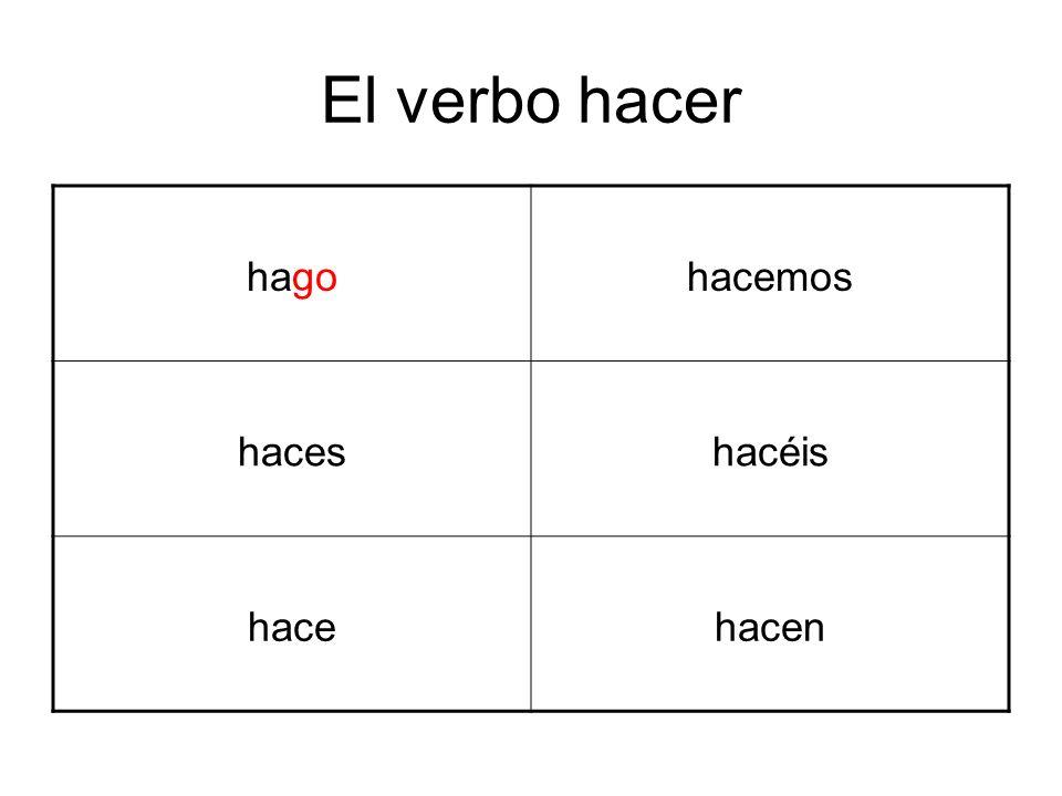 El verbo hacer hagohacemos haceshacéis hacehacen