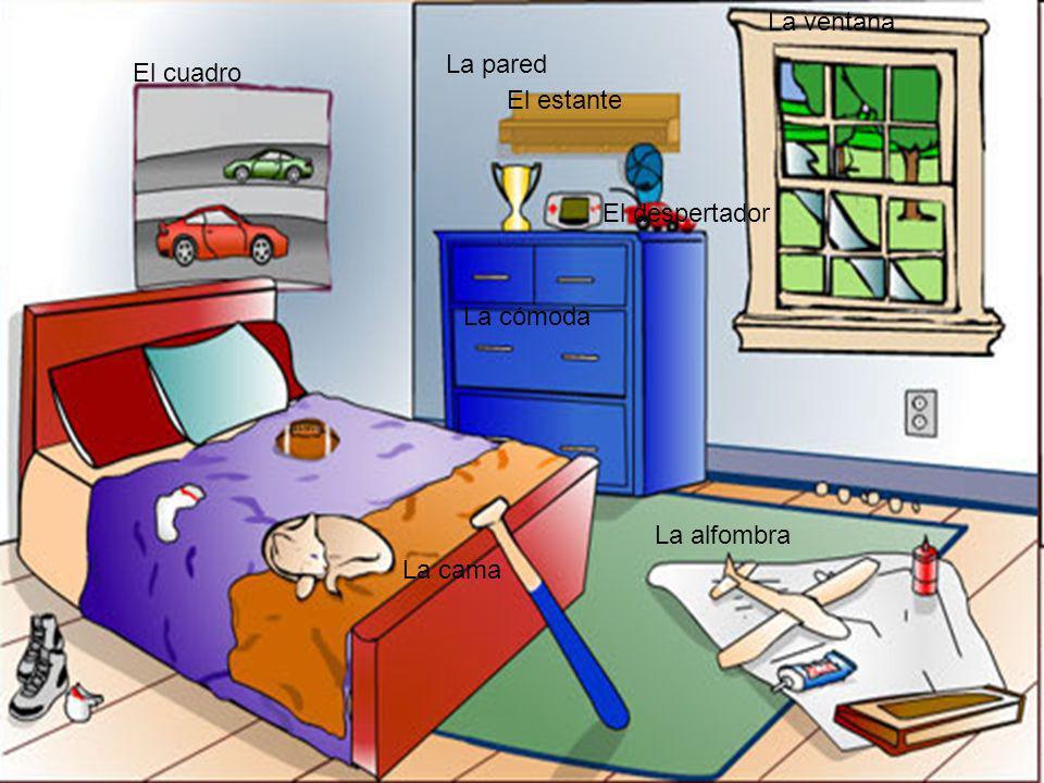 El cuadro La cama La alfombra La cómoda El estante El despertador La ventana La pared