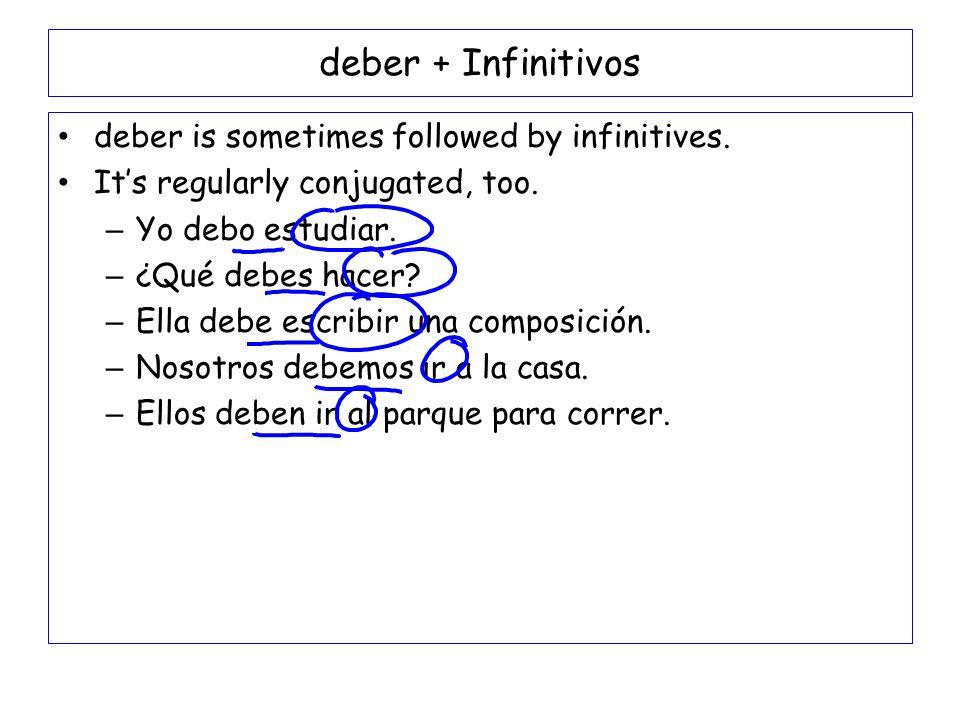 deber + Infinitivos deber is sometimes followed by infinitives. Its regularly conjugated, too. – Yo debo estudiar. – ¿Qué debes hacer? – Ella debe esc