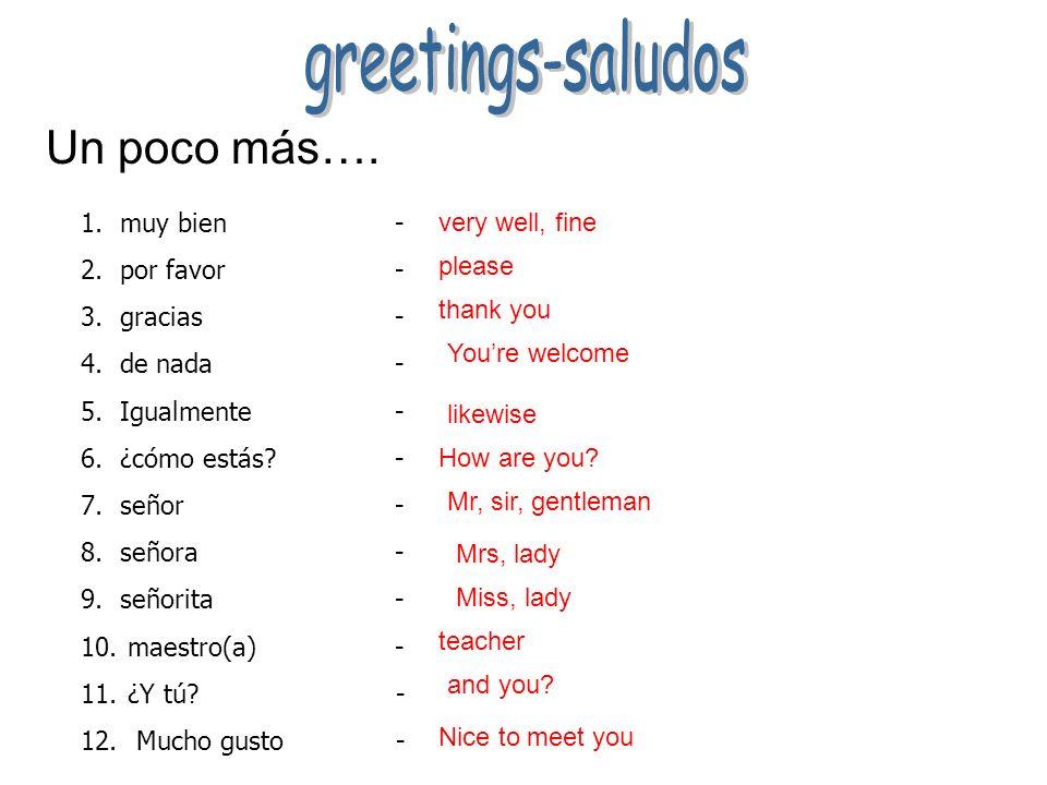 Copy the greetings into your notebooks hola adiós buenos días buenas tardes buenas noches ciao (chao) hasta luego hasta pronto hasta mañana ¿Qué tal?