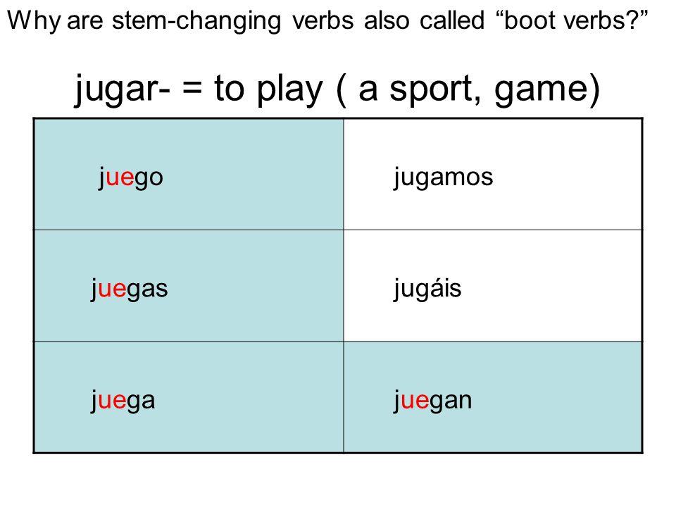 jugar- = to play ( a sport, game) juego jugamos juegas jugáis juega juegan Why are stem-changing verbs also called boot verbs?