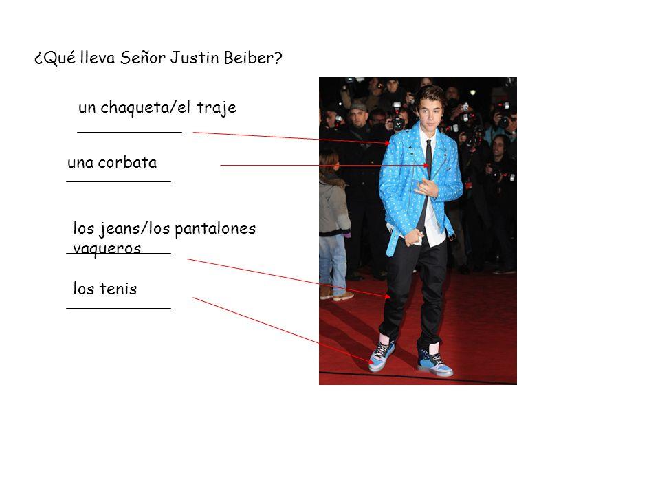 ¿Qué lleva Señor Justin Beiber.