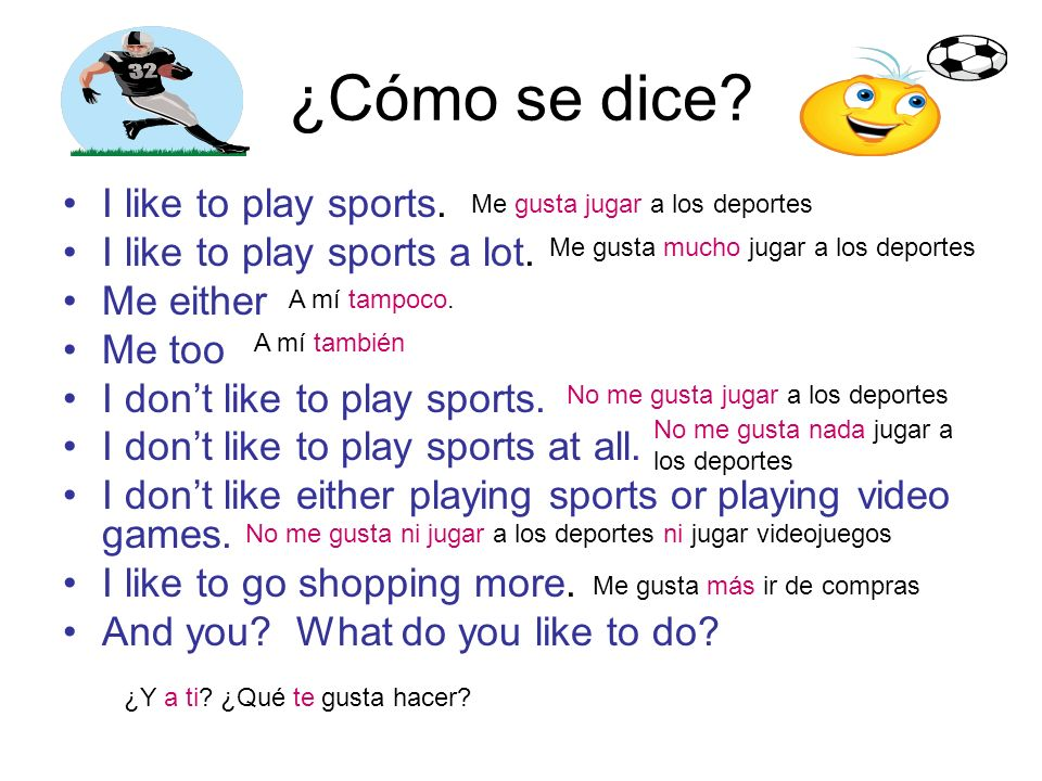 ¿Cómo se dice? I like to play sports. I like to play sports a lot. Me either Me too I dont like to play sports. I dont like to play sports at all. I d