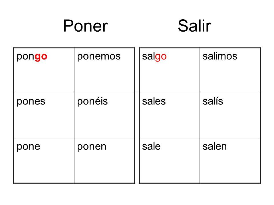 Poner Salir salgosalimos salessalís salesalen pongoponemos ponesponéis poneponen