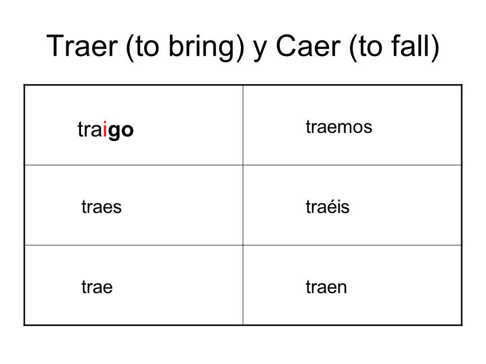 Traer (to bring) y Caer (to fall) traigo traemos traes traéis trae traen