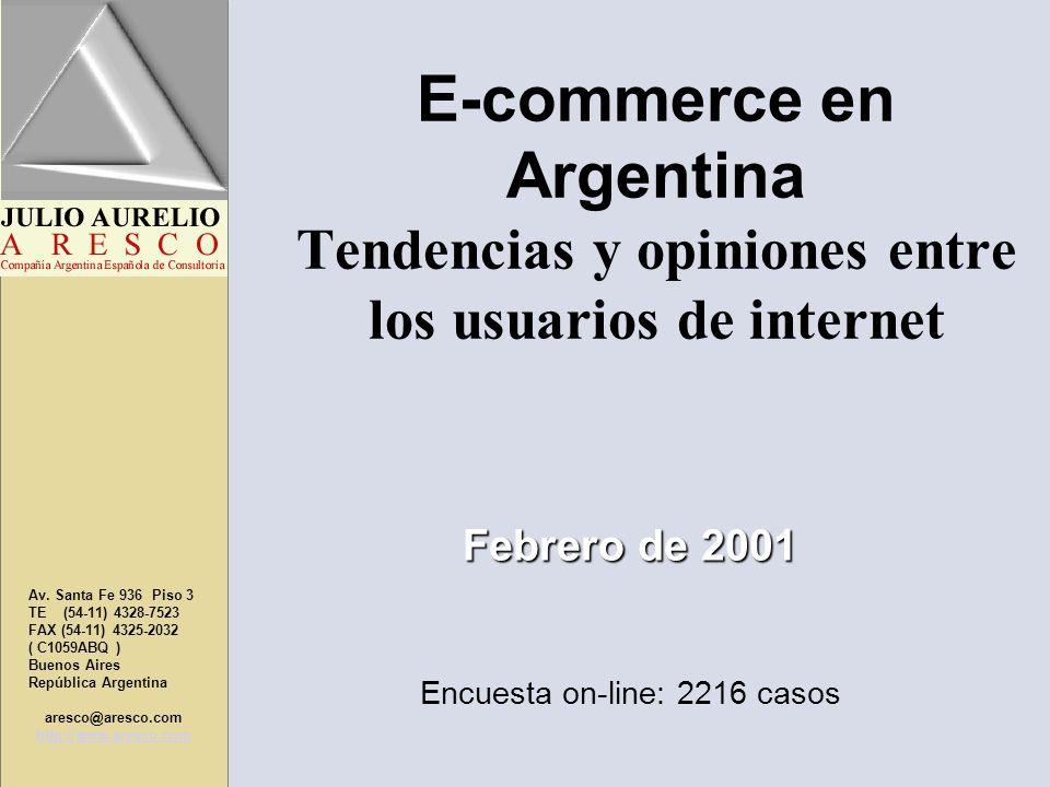 E-commerce en Argentina Tendencias y opiniones entre los usuarios de internet Av. Santa Fe 936 Piso 3 TE (54-11) 4328-7523 FAX (54-11) 4325-2032 ( C10
