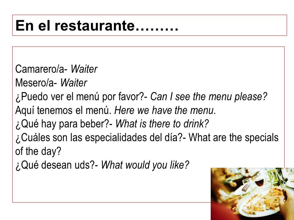 Camarero/a- Waiter Mesero/a- Waiter ¿Puedo ver el menú por favor?- Can I see the menu please? Aquí tenemos el menú. Here we have the menu. ¿Qué hay pa