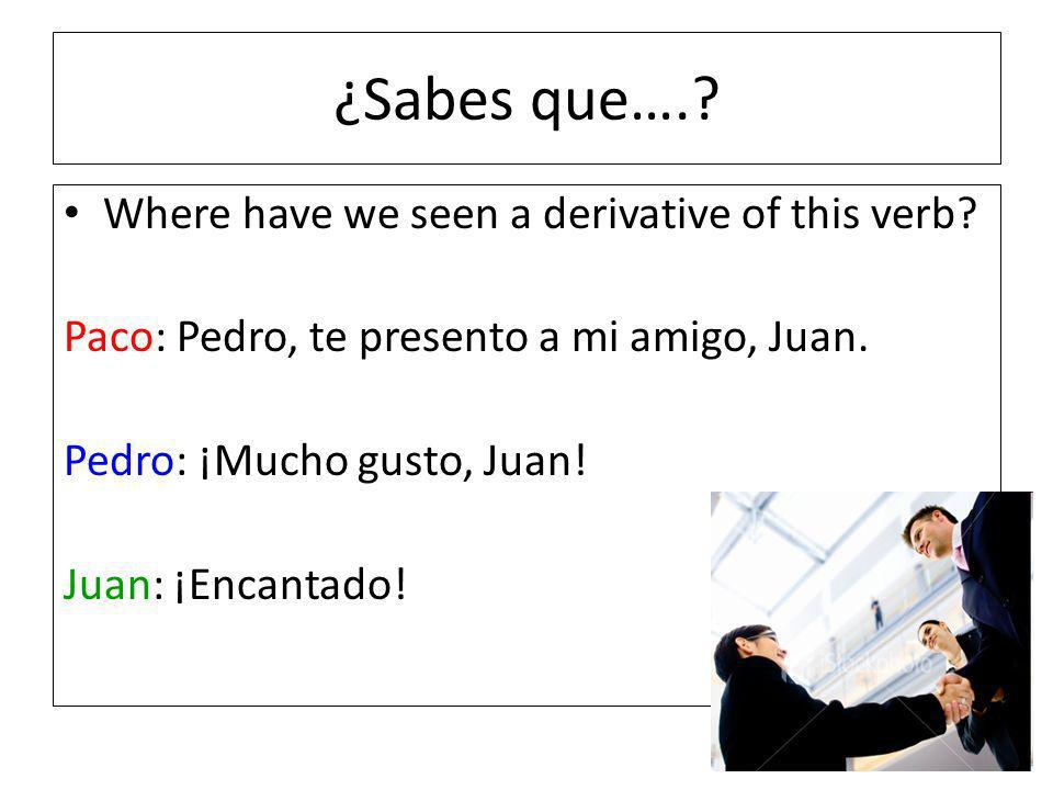 ¿Sabes que…..Where have we seen a derivative of this verb.