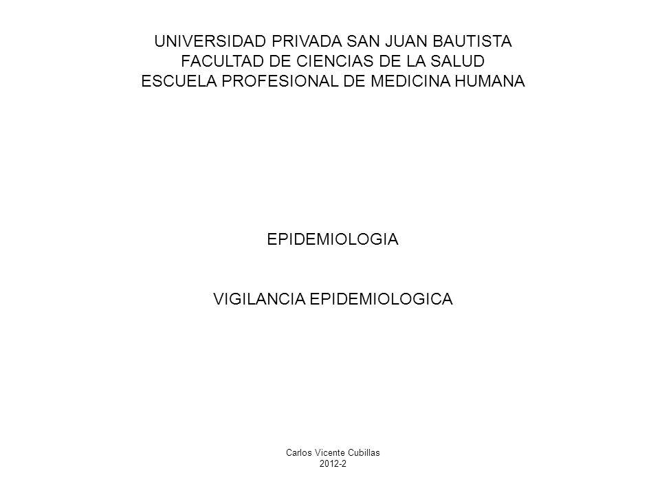 UNIVERSIDAD PRIVADA SAN JUAN BAUTISTA FACULTAD DE CIENCIAS DE LA SALUD ESCUELA PROFESIONAL DE MEDICINA HUMANA EPIDEMIOLOGIA VIGILANCIA EPIDEMIOLOGICA