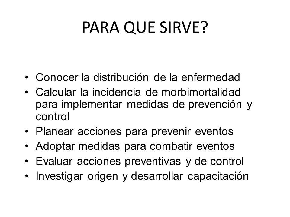 PARA QUE SIRVE? Conocer la distribución de la enfermedad Calcular la incidencia de morbimortalidad para implementar medidas de prevención y control Pl