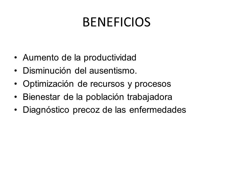 BENEFICIOS Aumento de la productividad Disminución del ausentismo. Optimización de recursos y procesos Bienestar de la población trabajadora Diagnósti