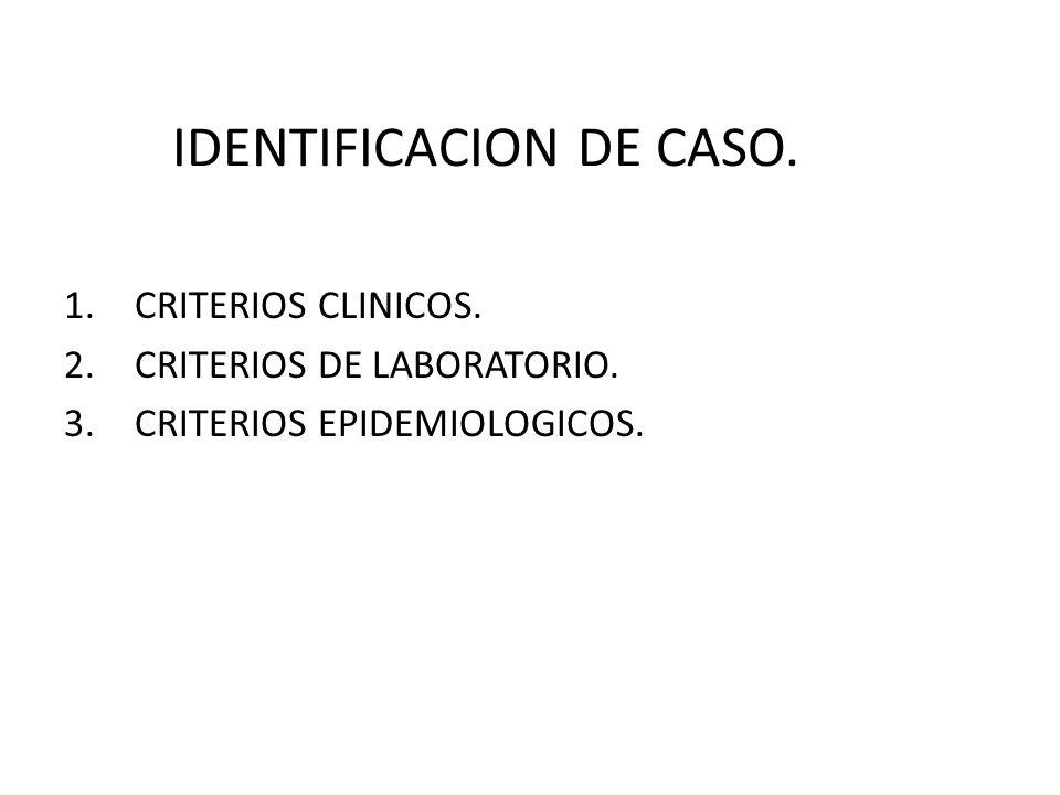 IDENTIFICACION DE CASO. 1.CRITERIOS CLINICOS. 2.CRITERIOS DE LABORATORIO. 3.CRITERIOS EPIDEMIOLOGICOS.