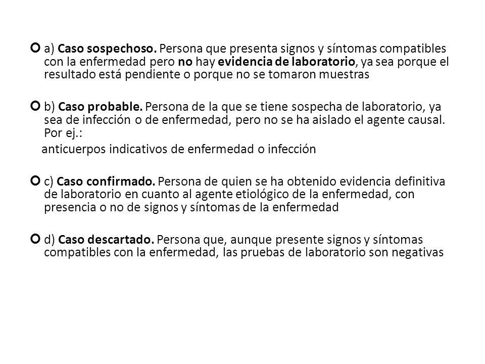 a) Caso sospechoso. Persona que presenta signos y síntomas compatibles con la enfermedad pero no hay evidencia de laboratorio, ya sea porque el result