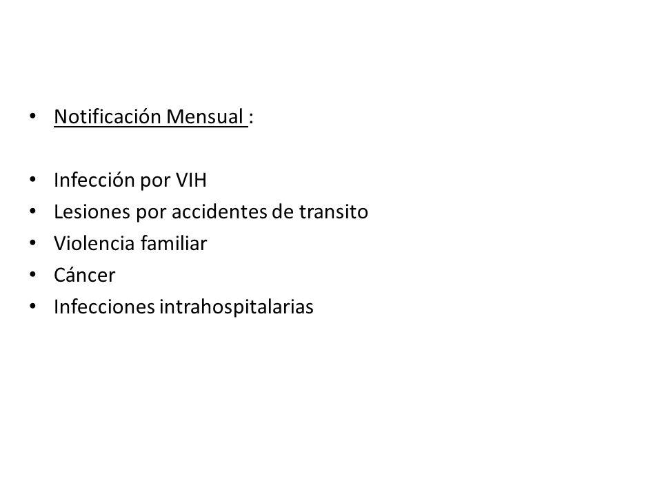 Notificación Mensual : Infección por VIH Lesiones por accidentes de transito Violencia familiar Cáncer Infecciones intrahospitalarias