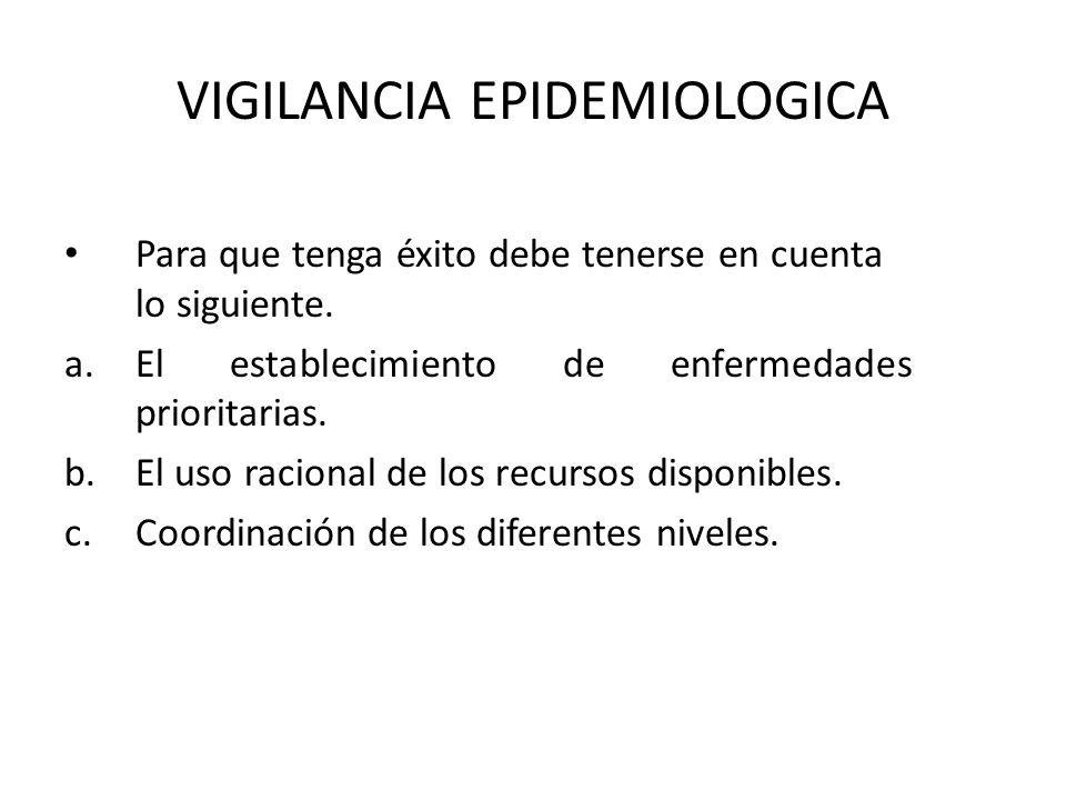 VIGILANCIA EPIDEMIOLOGICA Para que tenga éxito debe tenerse en cuenta lo siguiente. a.El establecimiento de enfermedades prioritarias. b.El uso racion
