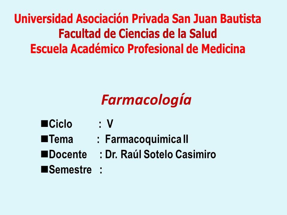 Farmacolog í a Ciclo : V Tema : Farmacoquimica II Docente : Dr. Raúl Sotelo Casimiro Semestre :