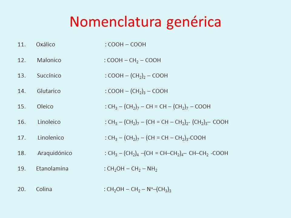 Nomenclatura genérica 11. Oxálico: COOH – COOH 12.Malonico : COOH – CH 2 – COOH 13.Succínico: COOH – (CH 2 ) 2 – COOH 14.Glutarico: COOH – (CH 2 ) 3 –