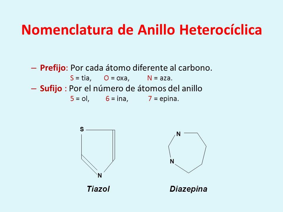 Nomenclatura de Anillo Heterocíclica – Prefijo: Por cada átomo diferente al carbono. S = tia, O = oxa, N = aza. – Sufijo : Por el número de átomos del