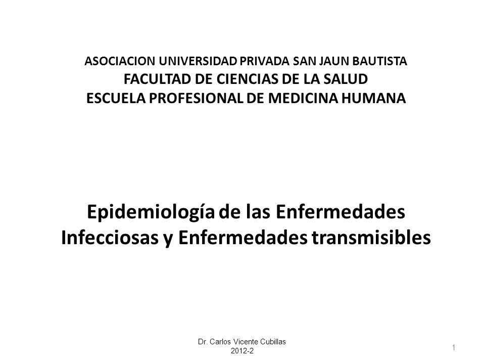 ASOCIACION UNIVERSIDAD PRIVADA SAN JAUN BAUTISTA FACULTAD DE CIENCIAS DE LA SALUD ESCUELA PROFESIONAL DE MEDICINA HUMANA Epidemiología de las Enfermed