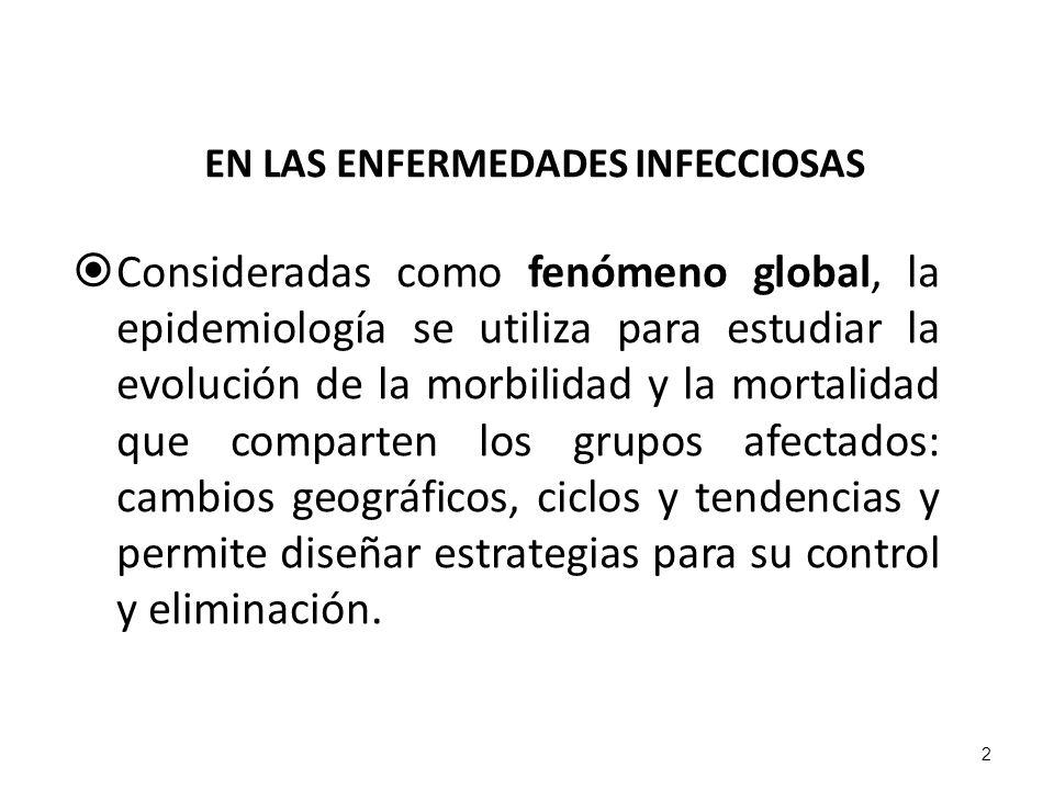 EN LAS ENFERMEDADES INFECCIOSAS Consideradas como fenómeno global, la epidemiología se utiliza para estudiar la evolución de la morbilidad y la mortal
