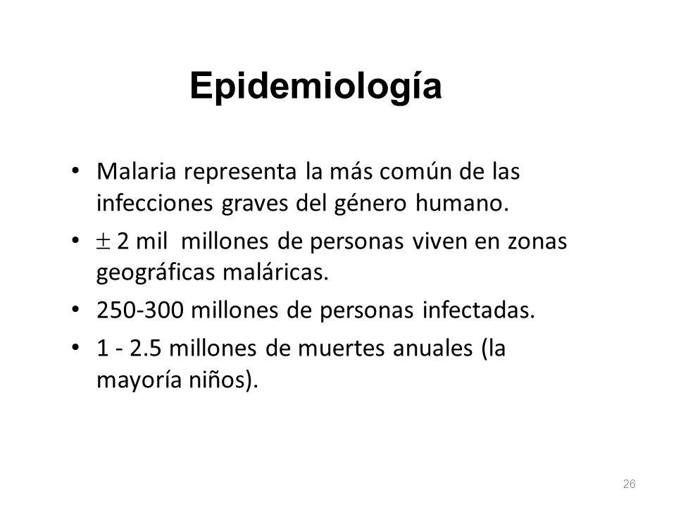 Malaria representa la más común de las infecciones graves del género humano. 2 mil millones de personas viven en zonas geográficas maláricas. 250-300