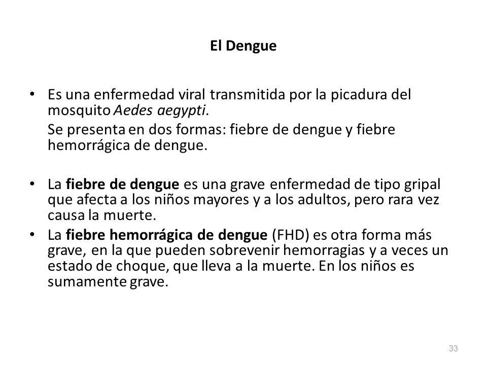 El Dengue Es una enfermedad viral transmitida por la picadura del mosquito Aedes aegypti. Se presenta en dos formas: fiebre de dengue y fiebre hemorrá
