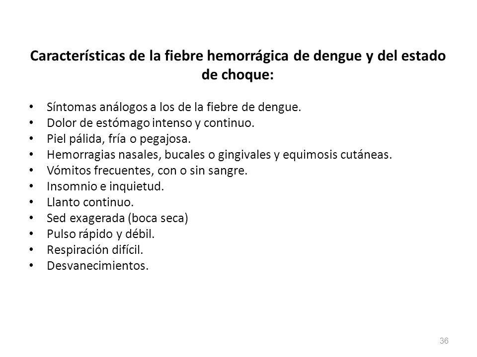 Características de la fiebre hemorrágica de dengue y del estado de choque: Síntomas análogos a los de la fiebre de dengue. Dolor de estómago intenso y